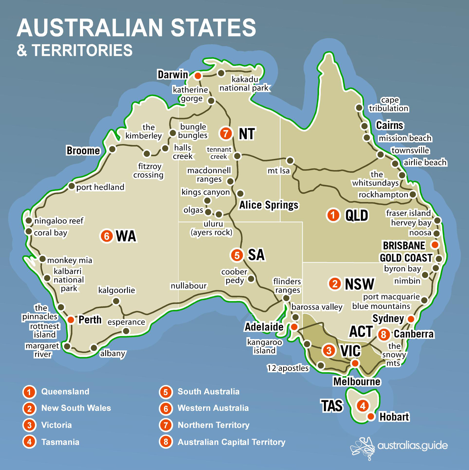 Australia Map And States.Map Of Australia Australia S Guide