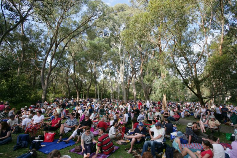 People having picnics on the Eucalypt Lawn