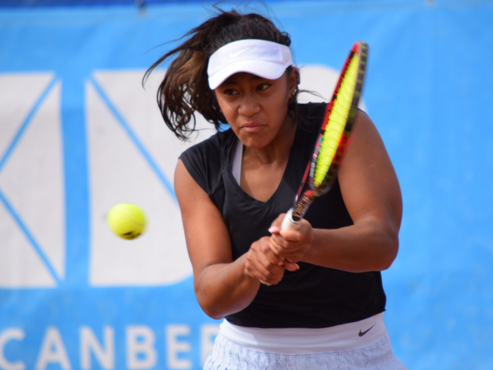 Destanee Aiava in action at the 2018 ACT Claycourt International