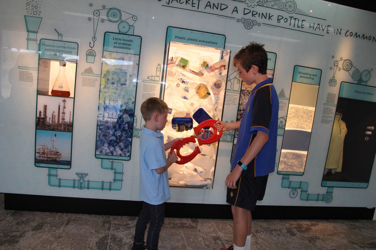 Students investigating sorting display