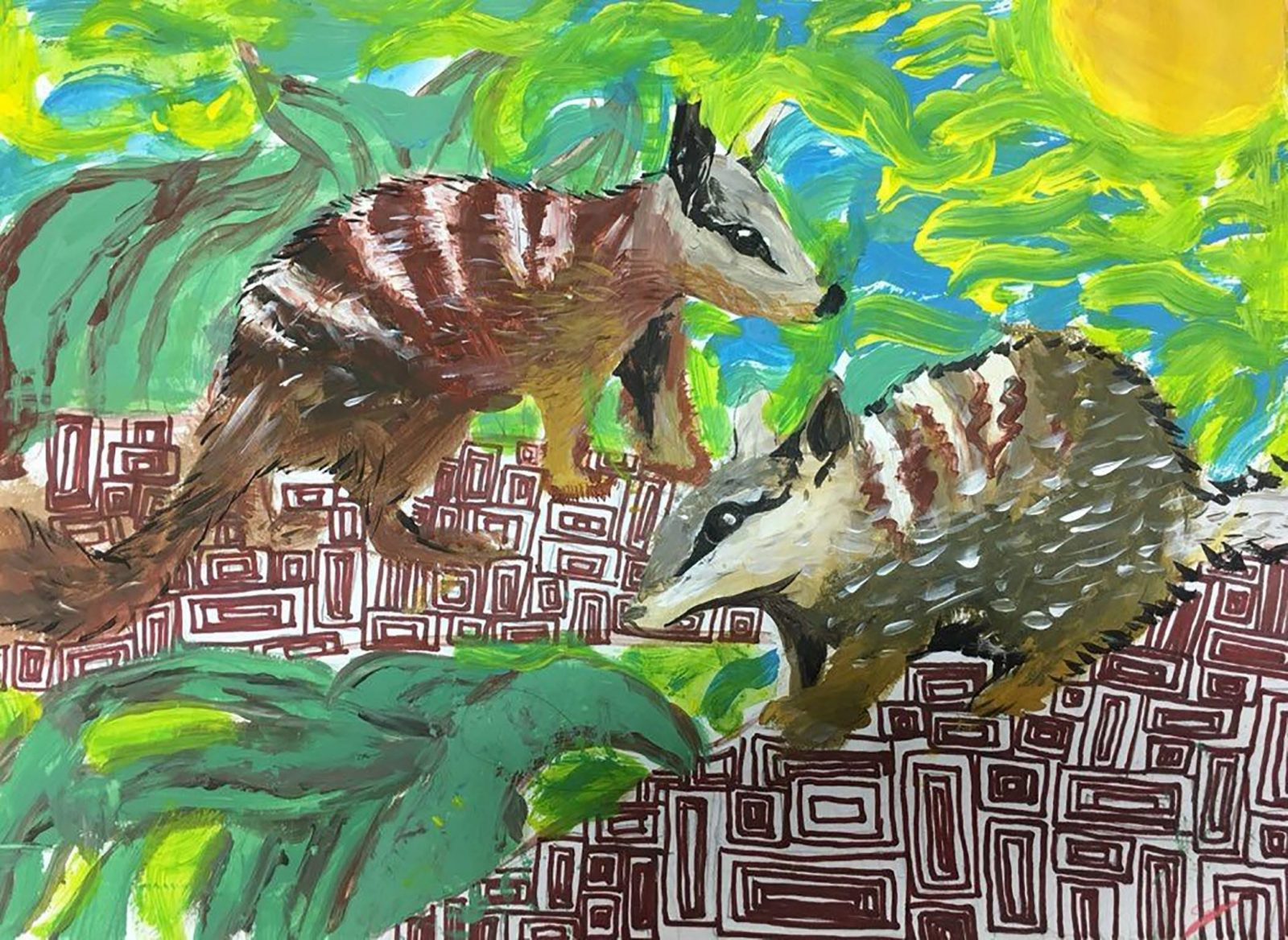 painting of two animals in landscape