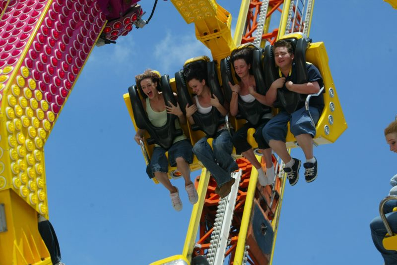 People on a sideshow ride