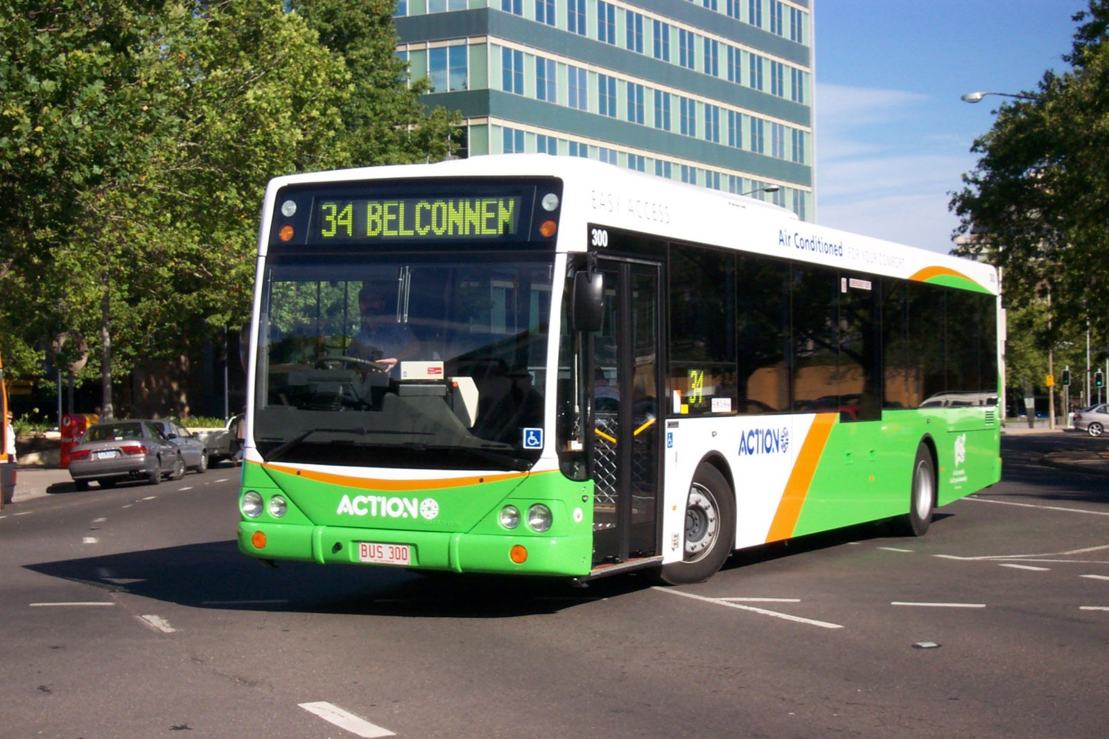 Action bus in the city