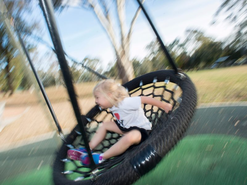 Young girl on a tyre swing