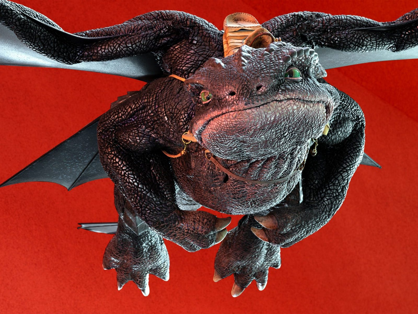 Large-scale, flying Toothless puppet from How to Train Your Dragon