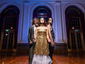 John Mackey, Eliza Sanders, Andy McMillan posing at Albert Hall