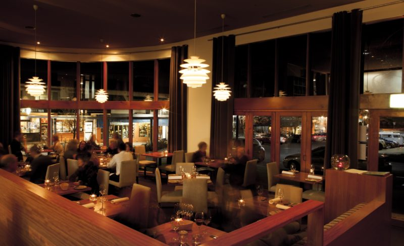 Restaurant interior with subtle night lighting