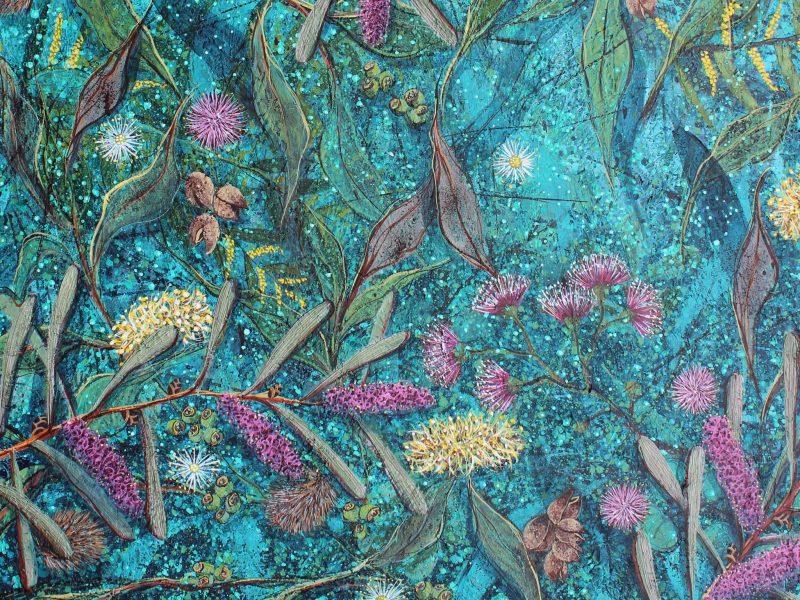 Garden Symphony - triptych 270cm x 101cm acrylic on canvas painting