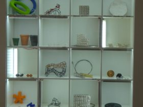 Display case of contemporary jewellery