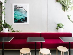 Indoor seating for organic cafe venue