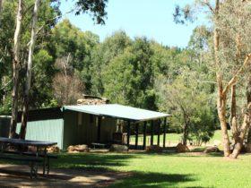 Blue Range Hut set amonst the trees