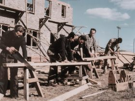Carpenters working on a a building site