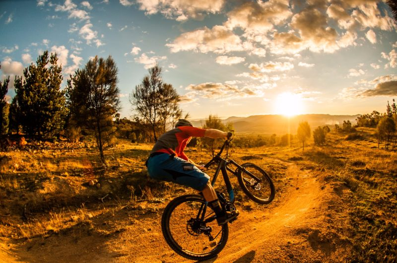 Mountain biker on a trail as the sun comes up