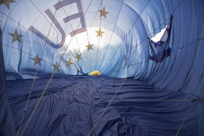 View inside a hot air balloon as it inflates