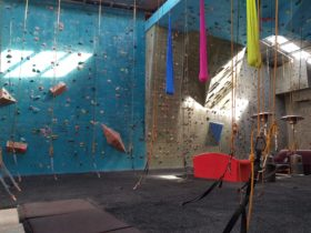 Indoor rock climbing set up