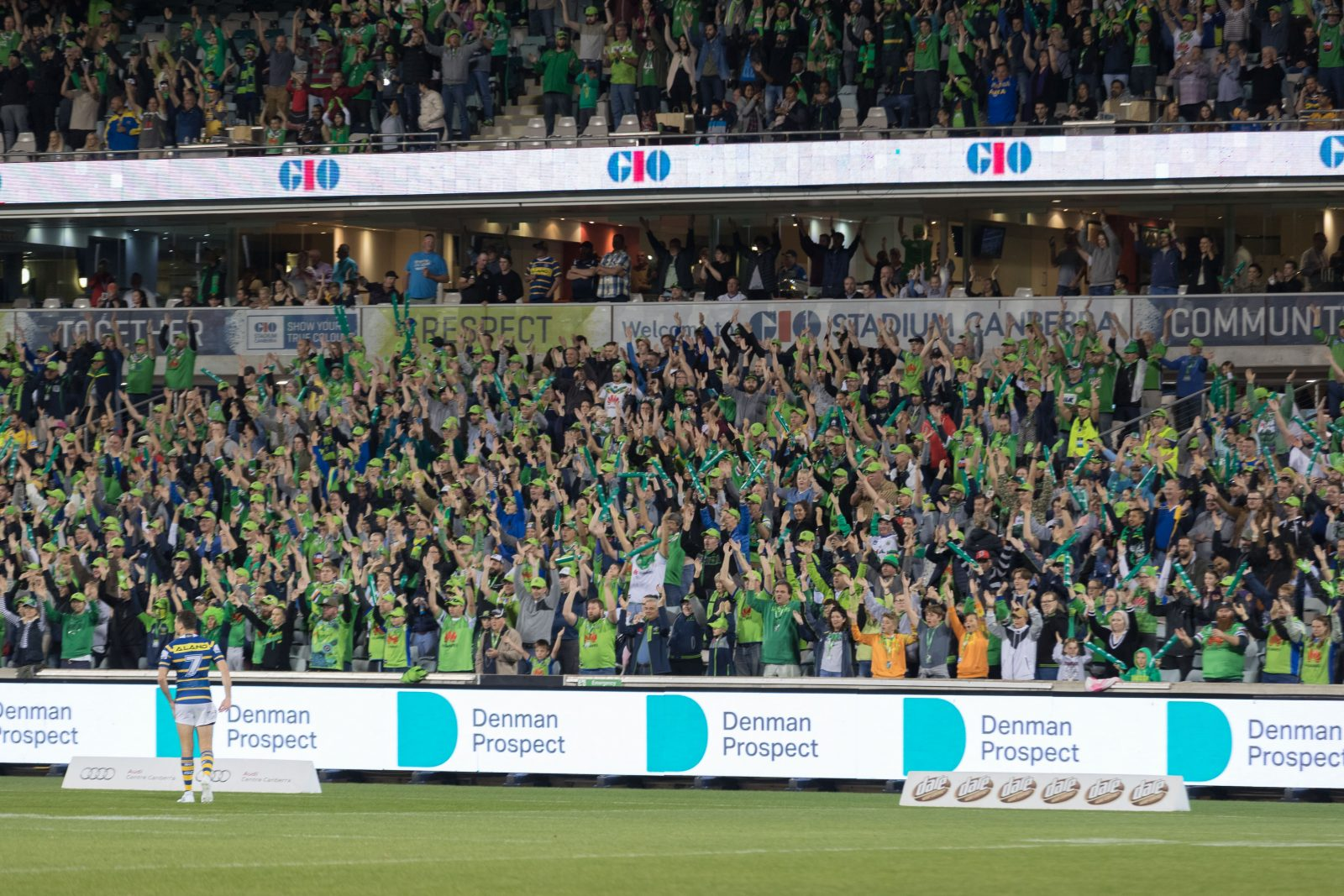 Canberra Raiders fans perform the Viking Clap