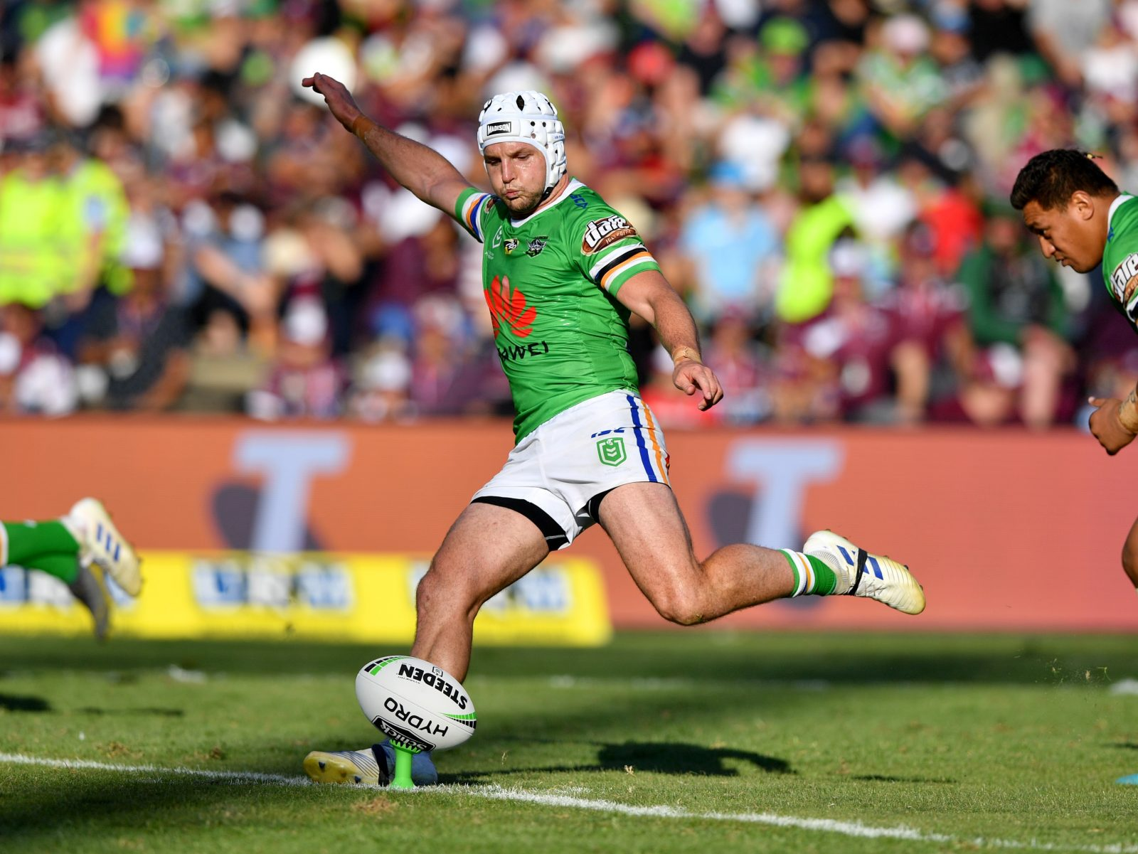 Jarrod Croker kicks off for the Canberra Raiders