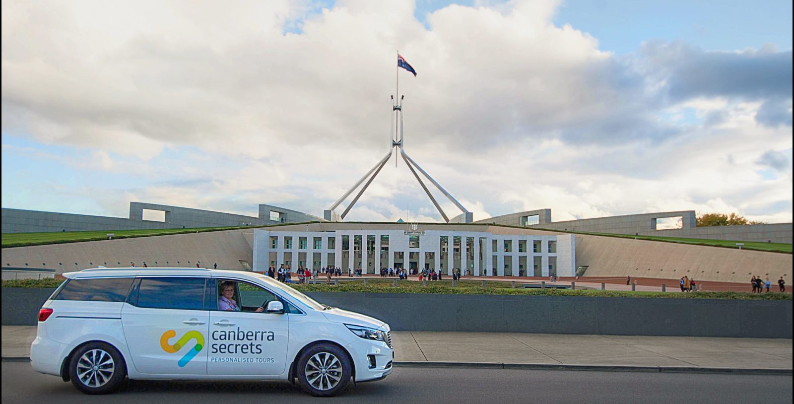 Canberra secrets vehicle in front of Parliament House
