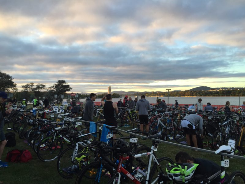 Bikes lined up on the shore of Lake Burley Griffin