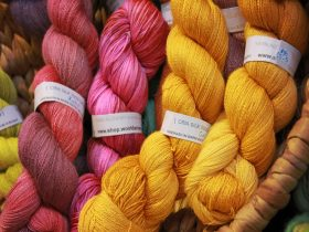 Large yellow and pink skeins of wool at the Old Bus Depot Markets for A Celebration of Wool