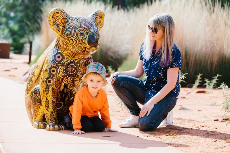 Mother and son with Koala