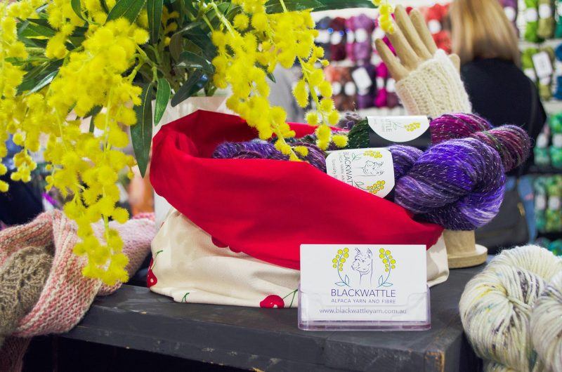 Blackwattle Yarn and Fibre on display at the CBRmade Etsy Made Local market