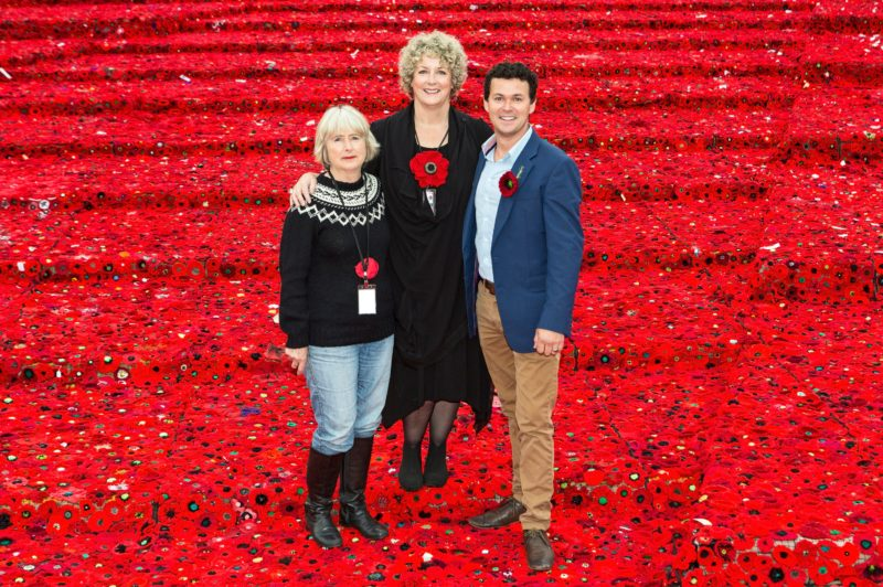 Marg Knight, Lynn Berry, Phillip Johnson from 5000 Poppies Project, Federation Square, Melb