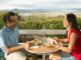 Asian couple dining outside with magnificent views over Canberra