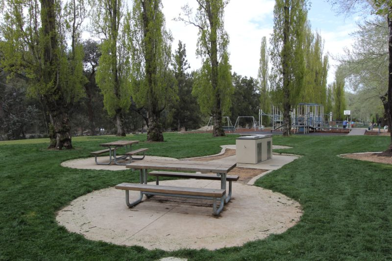 Picnic tables and barbeques
