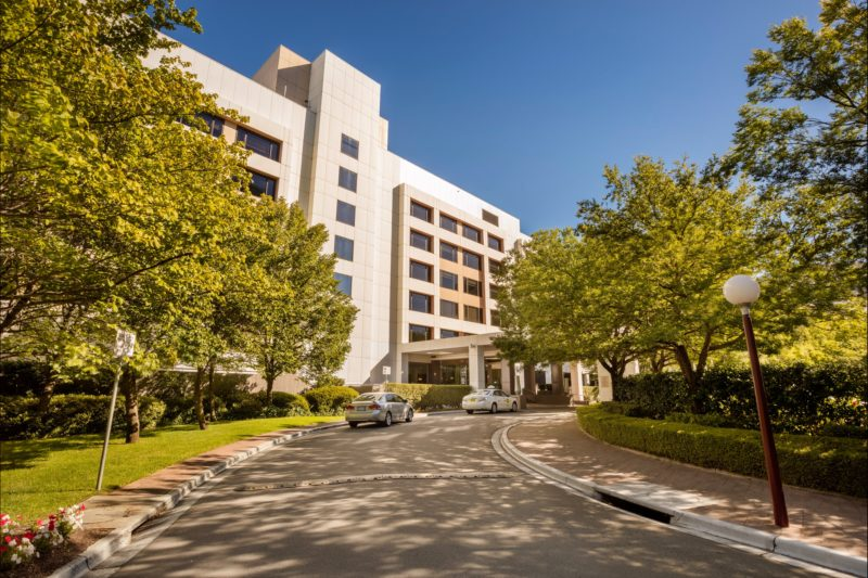 Crowne Plaza Canberra driveway and front entrance