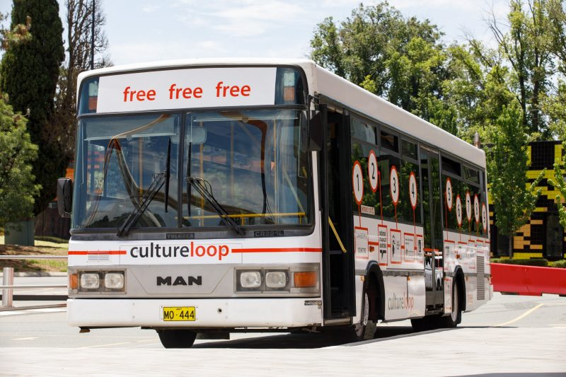 Front view of the Culture Loop bus
