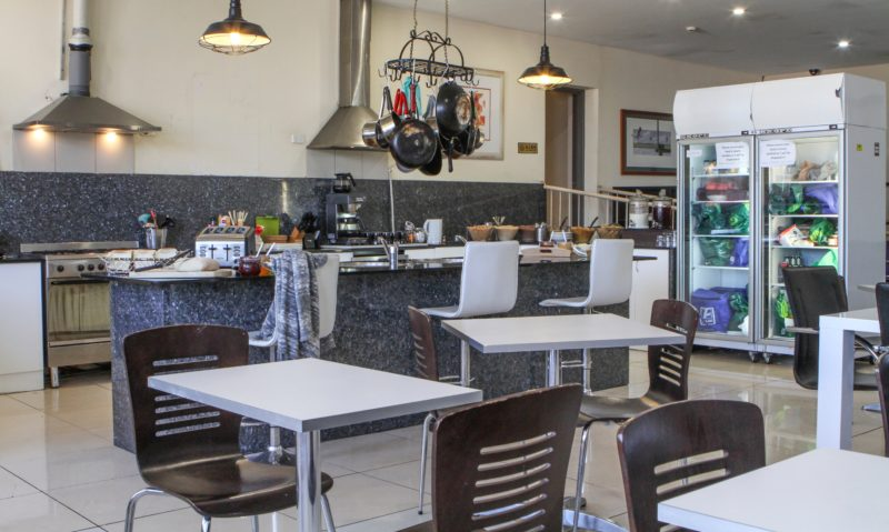 Communal kitchen and cafe area
