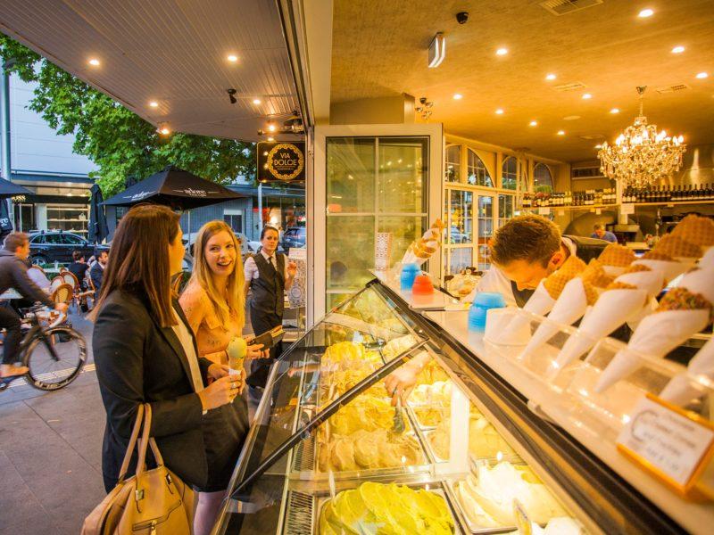 Young women getting gelati