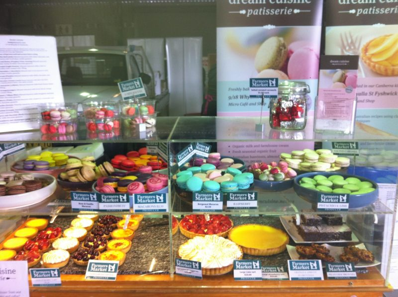 Dream Cuisine's macarons and tarts on sale at the Canberra Regional Farmers Market
