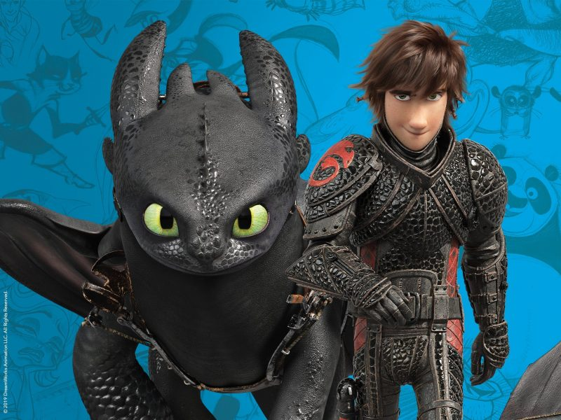 Characters Hiccup and Toothless from How To Train Your Dragon 3 with a blue sketched background