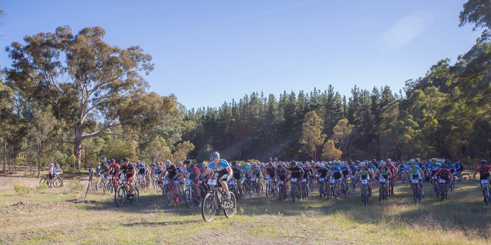 Mountain bike riders lined up for the race start