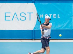 Andreas Seppi in action at the 2018 East Hotel Canberra Challenger