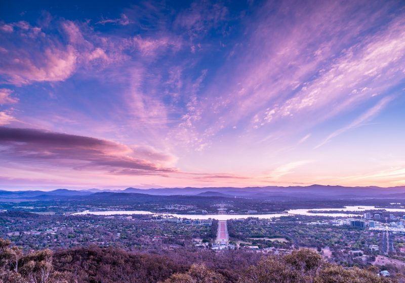 Sunset from Mount Ainslie in Canberra