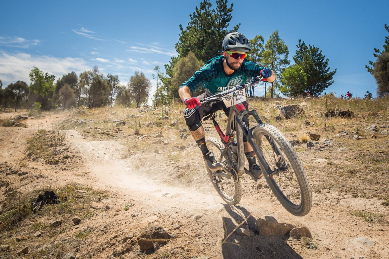 Fox Superflow enduro racing action at Stromlo Forest Park.