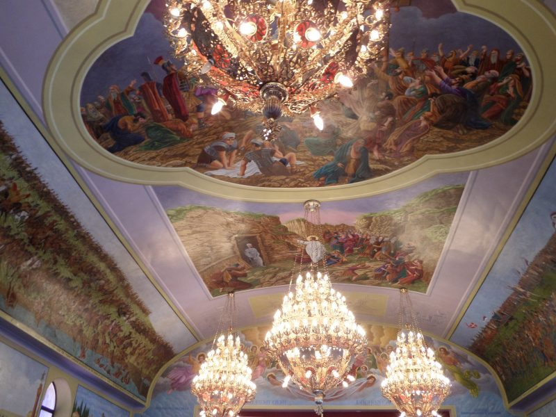 Ceiling murals and chandeliers