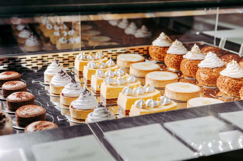 Selection of chilled pastries and desserts