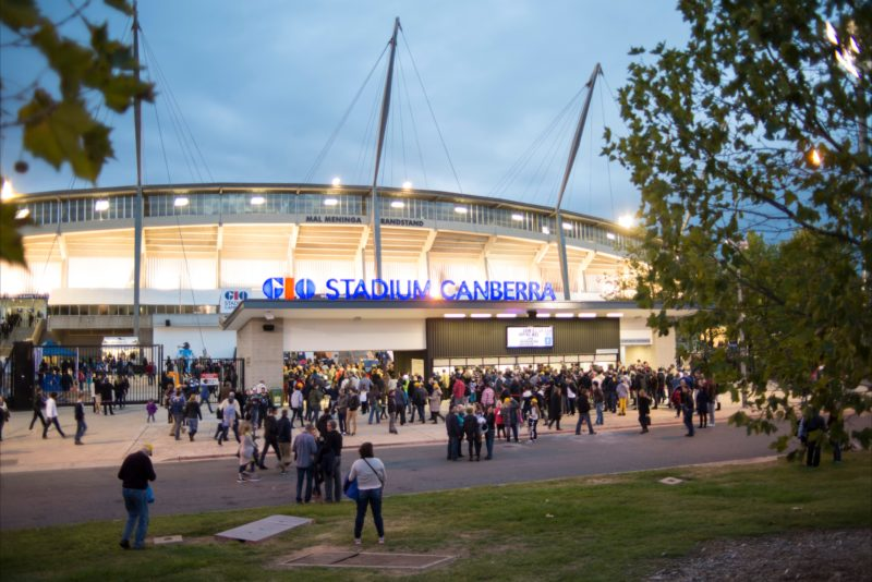 GIO Stadium Canberra entrance lit at night