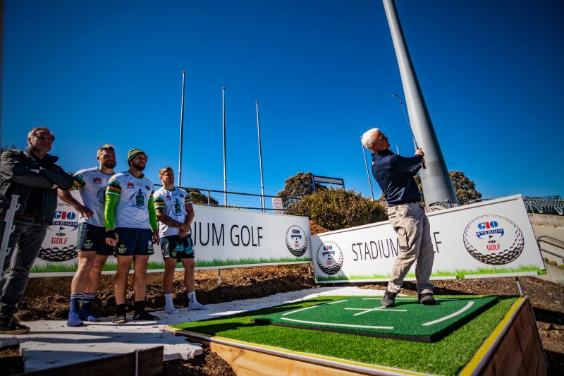 The Canberra Raiders boys having a try of Stadium Golf on Hole 7 after their Captain's Run.