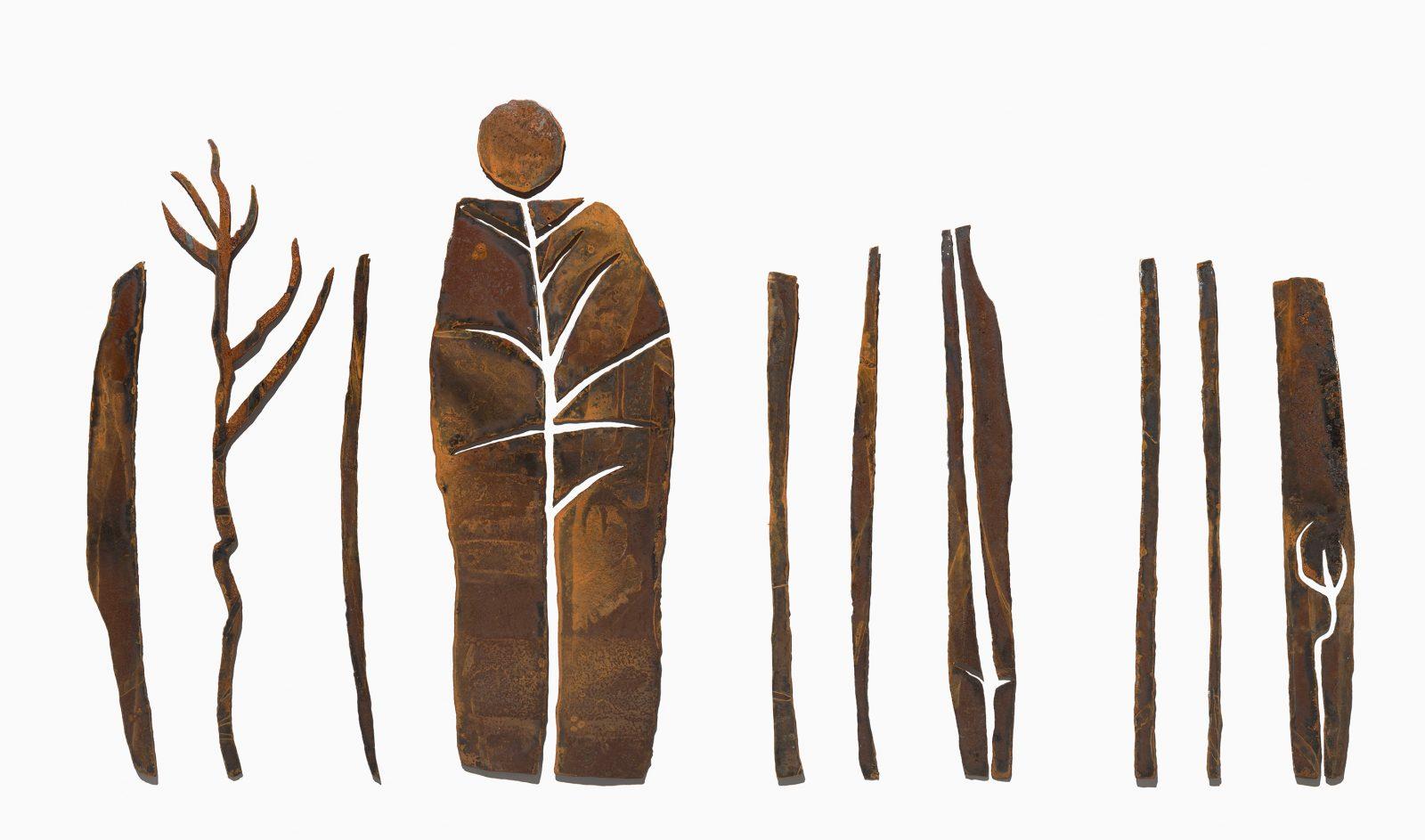 'Glyphs - bush portrait', 2019, steel, 12 pieces, unique, 117 x 200 x 3.5cm variable