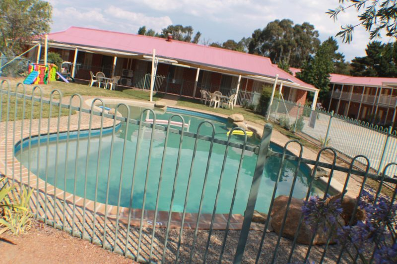 Outdoor pool and children's play area