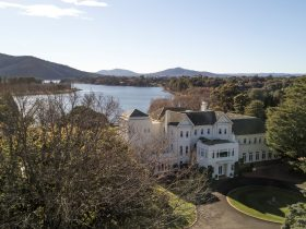 Government House, Canberra with views over Lake Burley Griffin to Black Mountain and the ranges
