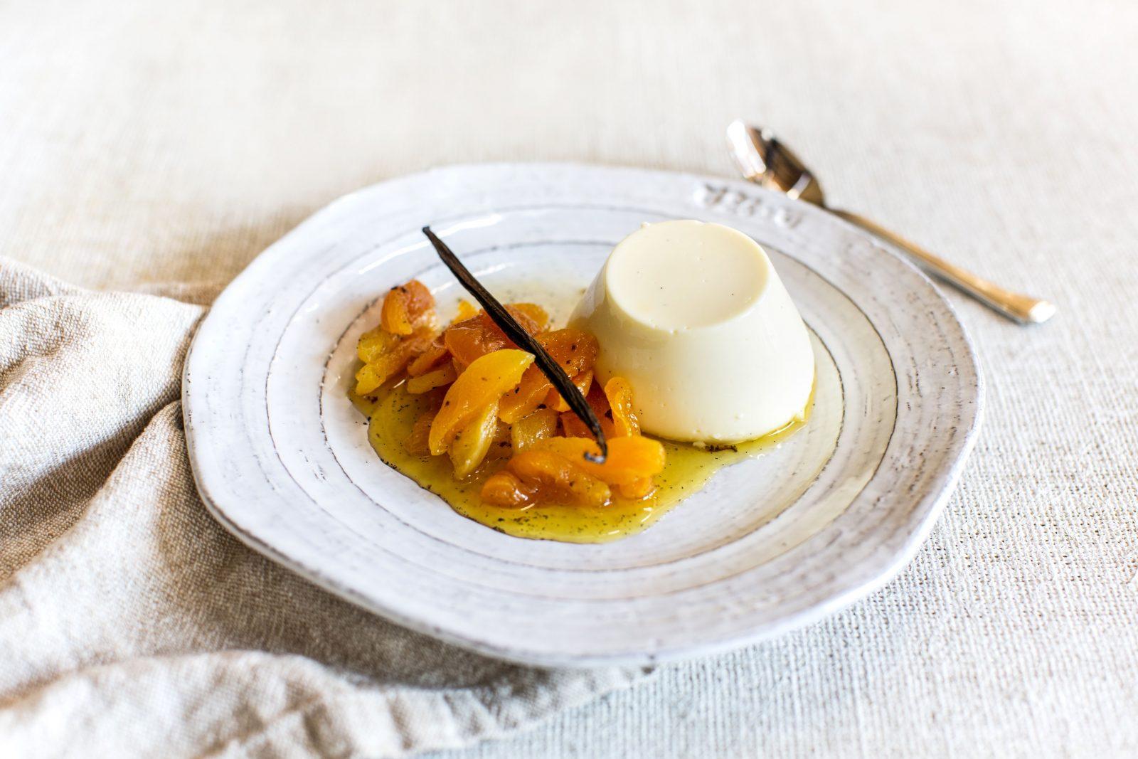 Panna cotta dessert at Helix