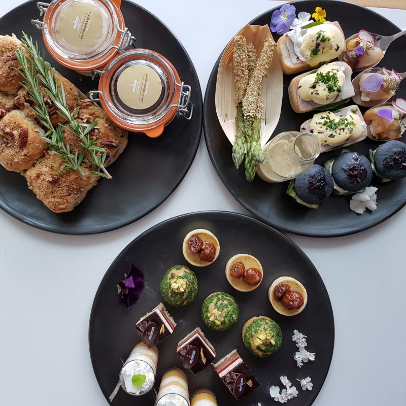 Plates of sweet and savoury items