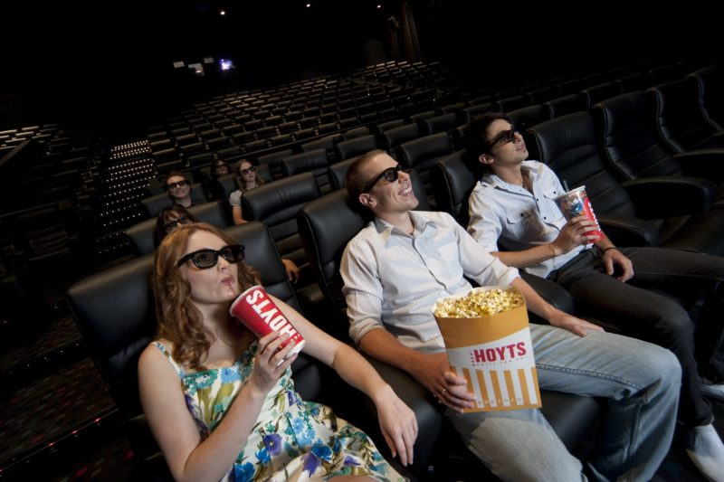 People watching a movie in 3D