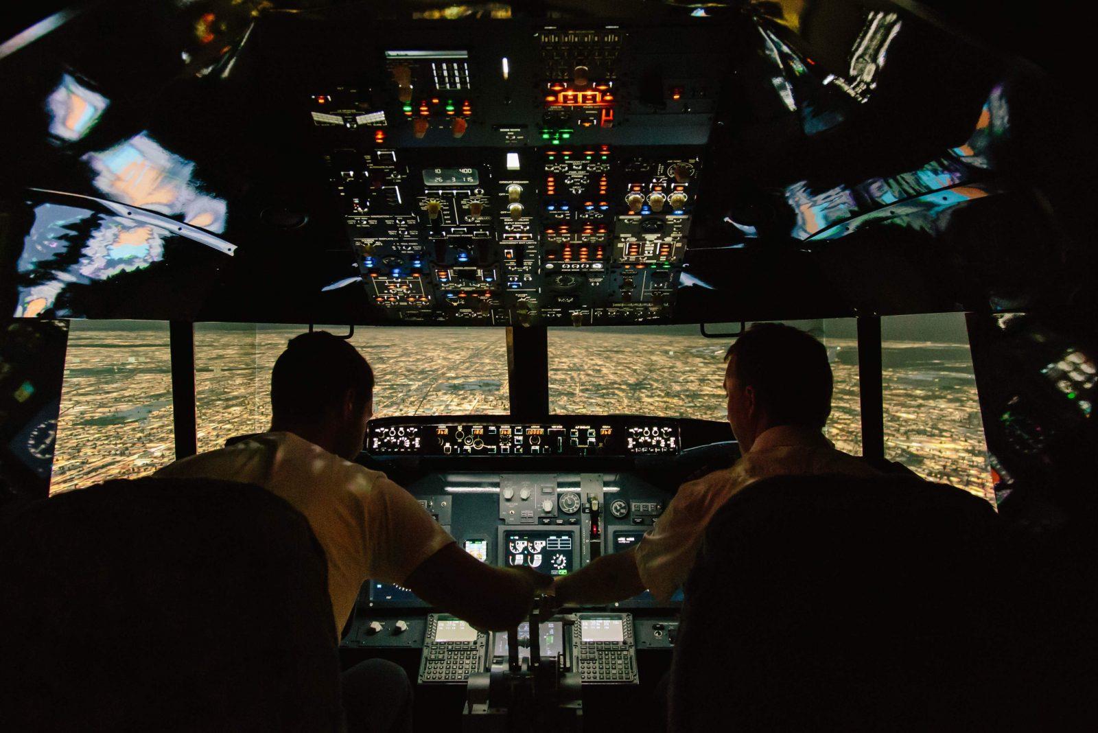 Taking a night flight in the simulator